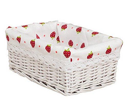 Wicker Basket Food Storage Basket Cosmetic Storage Basket WHITE Strawberry