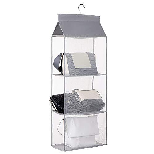 Hanging Handbag Organizer Purse Storage Closet Hanging Shelf Organizer with a Hook Best for Handbag, Purses Clothes, Toys and More Grey