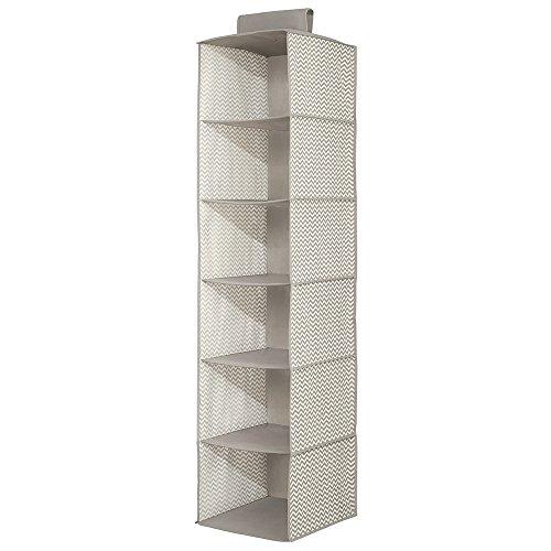 InterDesign 6-Shelf Sweater Organizer - Chevron Hanging Closet Storage System TaupeNatural