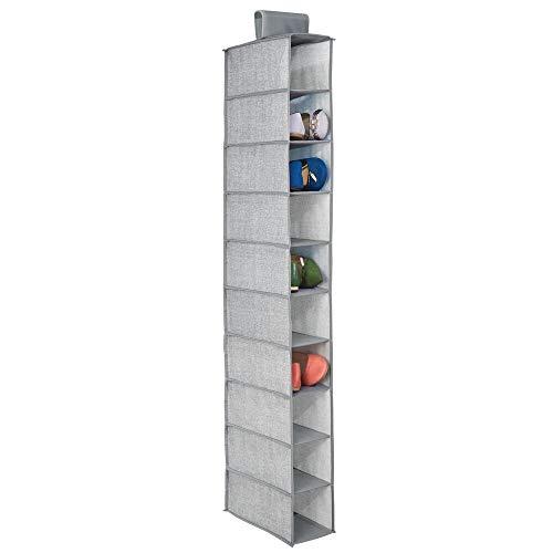 MetroDecor mDesign Fabric Hanging Closet Storage Organizer for Shoes Handbags Clutches - 10 Shelves Gray