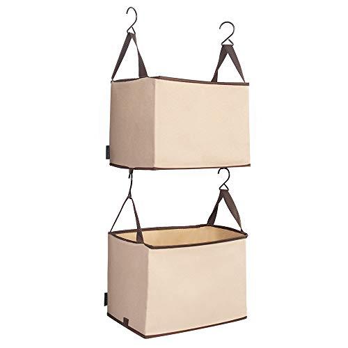 STORAGE MANIAC 2-Shelf Hanging Closet Organizer Heavy-Duty Hanging Shelf with Hooks Beige
