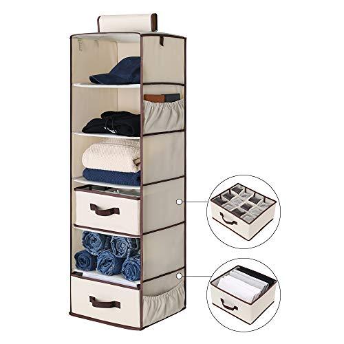 StorageWorks 6-Shelf Hanging Closet Organizer Foldable Hanging Dresser with 1 Drawer 1 UnderwearSocks Drawer 425H x 136W x 122D