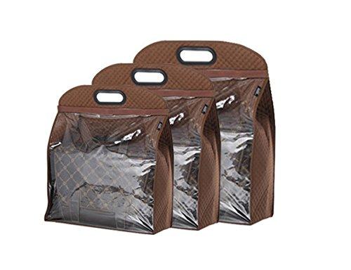 YEHAM 3 Sizes Handbags Storage Dust Cover Bag Storage Hanging Closet Organizer Purse Brown