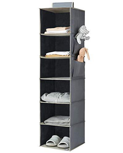 YOUDENOVA Hanging Closet Organizer 6-Shelf Cloth Hanging Storage with Side PocketsGrey