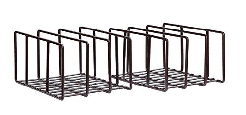 StorageManiac Cutting Board Holder Pantry Cabinet Organizer Bakeware Rack Bronze 2-Pack