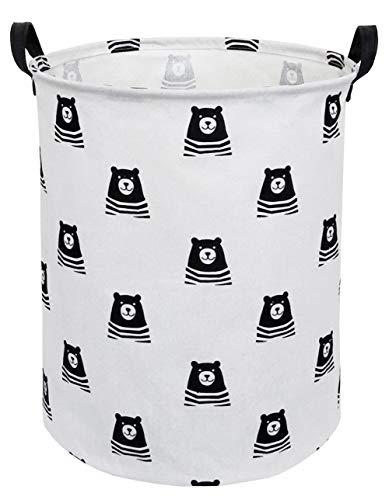 CLOCOR Large Storage BasketCanvas Fabric Waterproof Storage Bin Collapsible Laundry Hamper for HomeKidsToy Organizer Bear