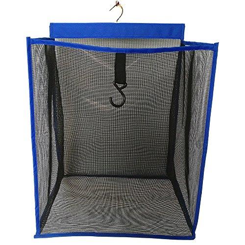 ALYER Hanging Collapsible Mesh Closet HamperLarge Capacity Door-Hanging Laundry Basket and Durable Space Saving Bathroom Storage BagBlue