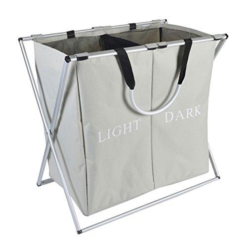 IHOMAGIC Double Sections Light and Dark Laundry Basket X-Frame Large Folding Washing Clothes Storage Bins Hamper