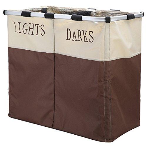 IHOMAGIC Large 2 Section Light Darks Laundry Hamper Collasipble Washing Cloth Basket Soter Beige&Brown