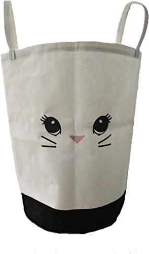 Kids  Babies Storage Hamper Basket LaundryNurseryToysClothing Cotton Canvas Size 20''x13'' Large Folding Waterproof Drawstring Cover Super cute Bunny A perfect gift