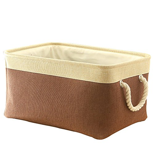 """TheWarmHome Fabric Basket with Lined Large Storage Basket Baby Laundry Basket Toy BoxBrown Patchwork16L×12W×8""""H"""
