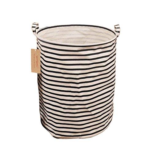 WITERY Stylish Natural Premium Cotton Linen Folding Large Laundry Basket Household Organizer Storage Bag with Handles C