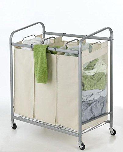 Beige 3-Bag Laundry Sorter Cart Heavy Duty Hamper Bag Basket Clothes Storage Organizer Rolling Bin Washing with Lockable Wheels