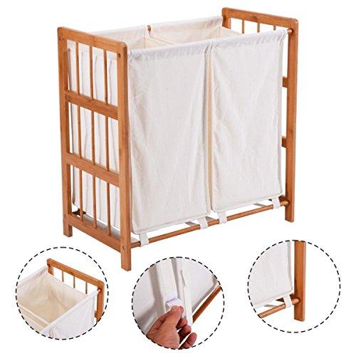 Household Bamboo Frame Laundry Sorter Hamper Clothes Storage Basket Bin w Bag