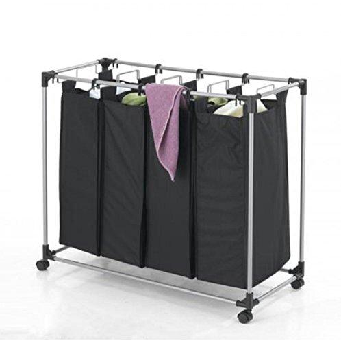USA Premium Store Black Heavy-Duty 4-Bag Laundry Sorter Hamper Clothes Organizer
