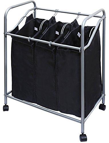 Ybm Home Chromeblack Triple Laundry Sorter Hamper 1620-11 1