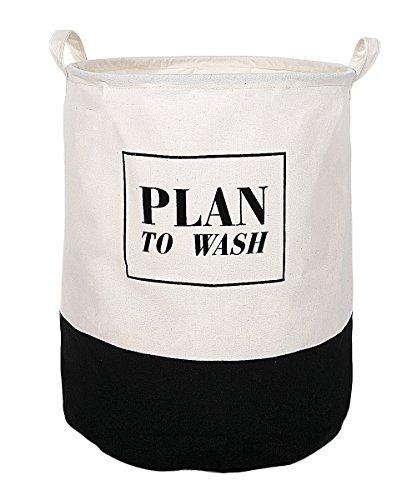 ALYER 70L Foldable Waterproof Coating Cotton Fabric Laundry HamperMinimalist Laundry Basket and Large Size Storage Bag Black