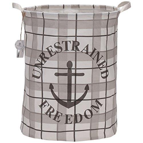 Sea Team 197 Large Sized Waterproof Coating Ramie Cotton Fabric Folding Laundry Hamper Bucket Cylindric Burlap Canvas Storage Basket with Nautical Design Grey