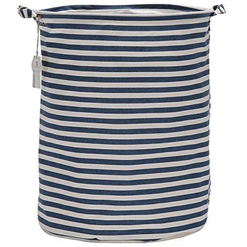 Sea Team 197 Large Sized Waterproof Coating Ramie Cotton Fabric Folding Laundry Hamper Bucket Cylindric Burlap Canvas Storage Basket with Stylish Navy White Stripe Design