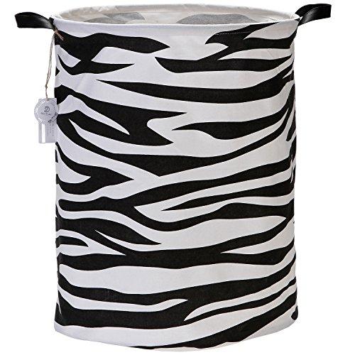 Sea Team 197 Large Sized Waterproof Coating Ramie Cotton Fabric Folding Laundry Hamper Bucket Cylindric Burlap Canvas Storage Basket with Zebra-Stripe Design