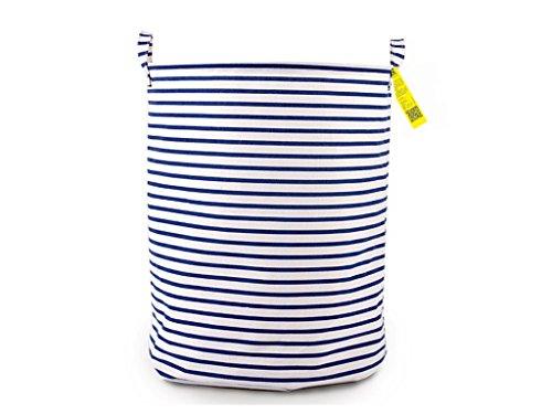 Waterproof Coating Ramie Cotton Fabric Folding Laundry Hamper Bucket Cylindric Burlap Canvas Storage Basket with Stylish Black White Stripe Design 197 Large Sized Blue White Stripe