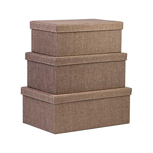 Creative Scents Storage Box Set 3-Pcs Sand Dunes Decorative White Stitching Fabric Lidded Shelf-Storage Closet Organizer Box-Basket - Stylish Decor Fits in Any Room - LargeMediumSmall Sizes