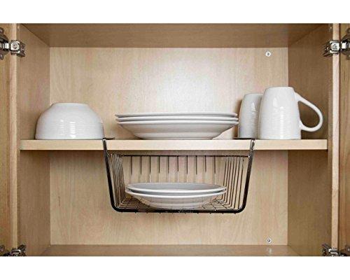 Home Basics Under The Shelf Storage Basket - Small - Onyx