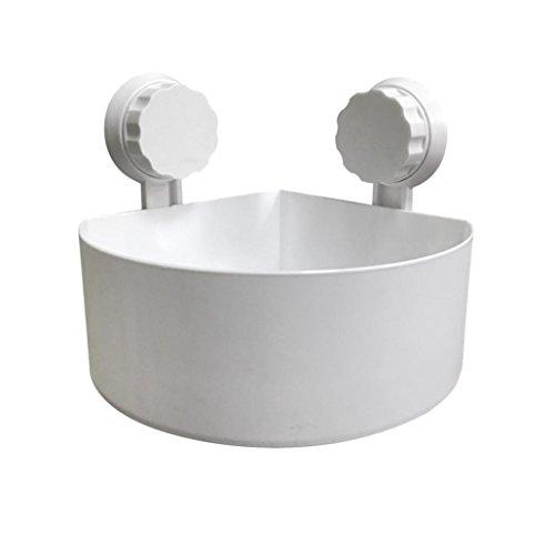 Shower ShelfPromisen Plastic Suction Cup Rustproof Shower Caddy Shelf Storage Basket Bathroom Kitchen Corner white