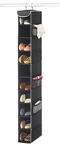 "Zober 10-Shelf Hanging Shoe Organizer Shoe Holder for Closet - 10 Mesh Pockets for Accessories - Breathable Polypropylene Black - 5 ½"" x 10 ½"" x 54"""