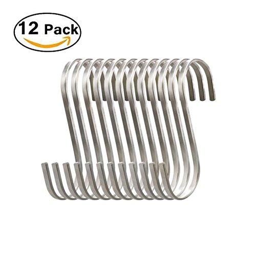 Deezio Premium Medium Flat S Hooks Stainless Steel S Shaped Hanging Hooks Metal Kitchen Pot Pan Rack Accessory Hooks Pack of 12
