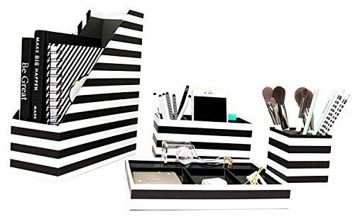 Blu Monaco Desk Black White Desk Accessories Organizer Set - 4 Pcs Set - Fun Stylish Horizontal Stripes Design - Stores Magazine File Folders Mails Bills Office or Beauty Supplies