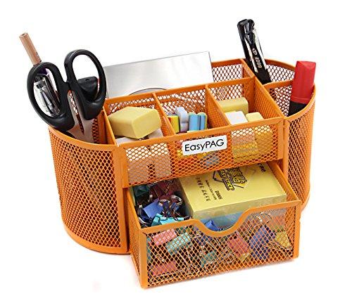 EasyPAG Desk Organizer 9 Components Mesh Office Desktop Office Supplies Set with Drawer Orange