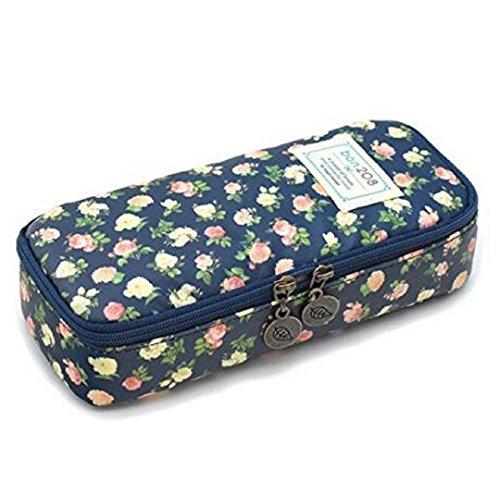 Wendin Pencil Case Twinkle Club Pen Bag Makeup Pouch Zipper Box Office Organizer Rose Floral cyan
