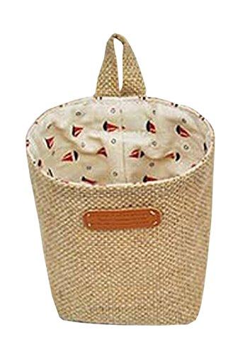 Linen Desk Storage Organizer Basket Hang Bag Pen Bag Container Sailing Boat
