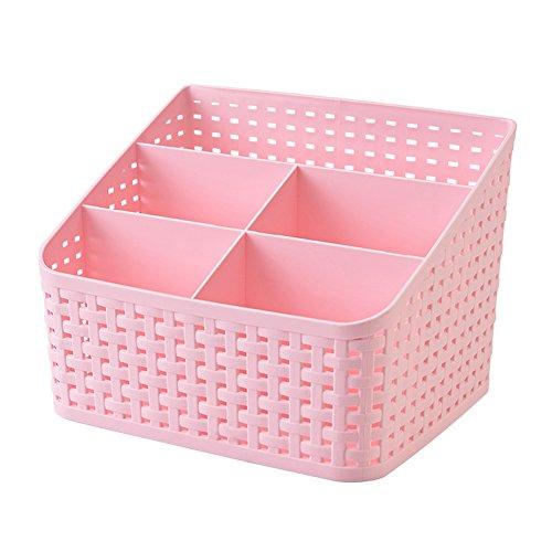 Vivian Plastic Desktop Organizer Storage Box 5 Compartments Remote Control Pencil Makeup Holder Desk Storage Container Pink