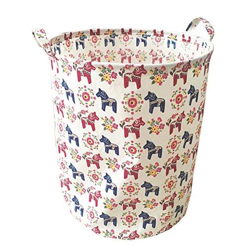 Ahyuan Organizing for Storage - Storage Baskets Made From Eco-friendly Cotton Works As Fabric Drawer Baby Storage Clothing StorageToy Storage Nursery Baskets Navy blue 19 x 16 Multi