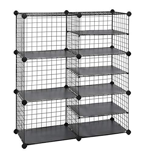 SONGMICS Cube Storage Unit Interlocking Metal Wire Organizer with Divider Design Modular Cabinet Bookcase for Closet Bedroom Kids Room 327 L x 122 W x 366 H Inches Black ULPI36H