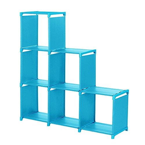 Sttech1 Space-Saving Cube Storage Unit 3-Tier Storage Cube Closet Organizer Shelf 6-Cube Cabinet Bookcase Blue Ship from USA