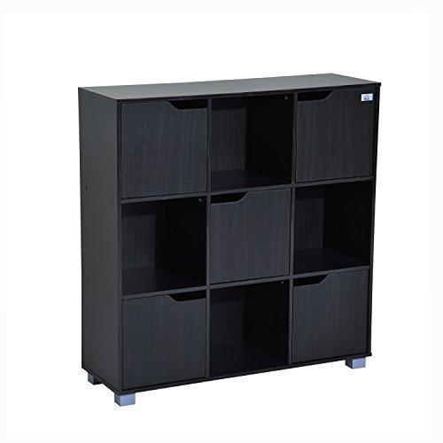 HomCom 9 Cube Bookcase Storage Shelf Organizer - Black