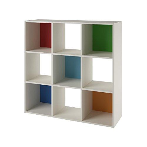 SystemBuild Wink 9 Cube Storage Bookcase WhiteMulti-Color