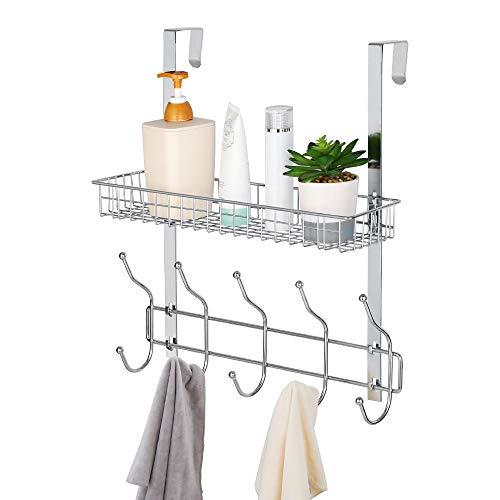 Over The Door Hook Coat Towel Rack Organizer Shelf Hanger Detachable Door Storage Hooks with Basket for Home Office Kitchen Bedroom BathroomChrome