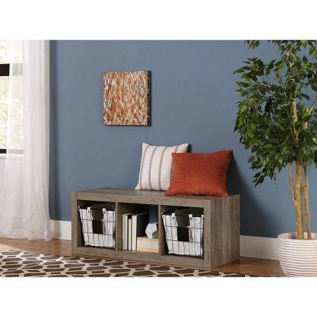 Better Homes and Gardens 3-Cube Organizer Storage Bookshelf Rustic Gray