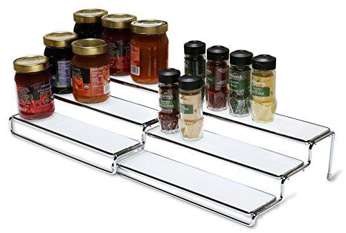 DecoBros 3 Tier Expandable Cabinet Spice Rack Step Shelf Organizer 125 - 25 Inch - Chrome