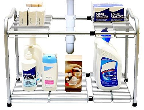 DecoBros Under Sink 2 Tier Expandable Shelf Organizer Silver