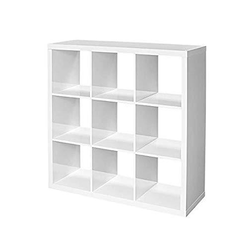 9 Cube Organizer White Open Storage Bin Shelf Compartment Modern Decorative Bookcase Shelving Unit Furniture for Dorm Livng Room Home Office Childrens Kids Room e-Book by jnwidetrade