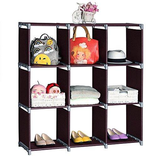 Coofel Cube Storage Shelves 9 Cubes Organizer Shelf DIY Storage Rack Non-Woven Fabric Room Shelving Unit Dark Brown