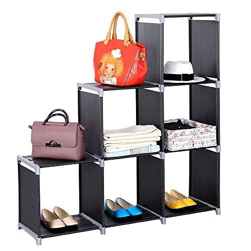 Coofel Cube Storage Shelves Black 6 Cubes Organizer Shelf DIY Storage Rack Non-Woven Fabric Room Shelving Unit Black