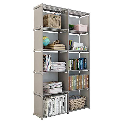 Rerii Cube Organizer Shelf 10 Cubes Storage Shelves Closet Organizer Cabinet Bookcase Bookshelf Free Standing Shelves for Bedroom Living Room Office 32 x 11 x 61 Inches
