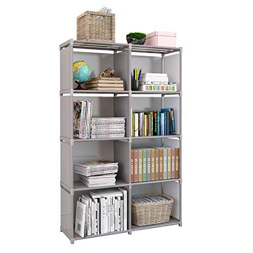 Rerii Cube Organizer Shelf 8 Cubes Storage Shelves Closet Organizer Cabinet Bookcase Bookshelf Free Standing Shelves for Bedroom Living Room Office 32 x 11 x 49 Inches