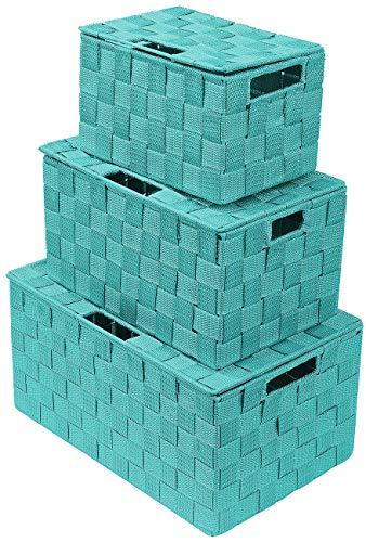 Sorbus Storage Box Woven Basket Bin Container Tote Cube Organizer Set Stackable Storage Basket Woven Strap Shelf Organizer Built-in Carry Handles Lid Bins - 3 Pack Aqua